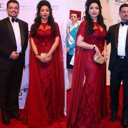Charming 2019 Illusion Vestidos Burgundy Lace Chiffon Vintage Mermaid Evening Gowns With Sleeve Saudi Arabia Trumpet Evening Dresses