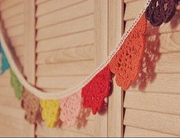 Wholesale 1601 Rainbow cotton Lace Handmade fabric flags bunting decorative banner wedding home decorations supplier A149