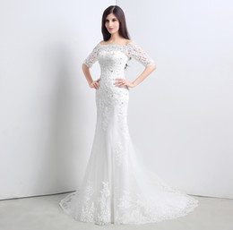 2019 Mermaid Lace Wedding Dresses off shoulder half long sleeves Vintage Sheer Wedding Dress Stock Real Images Wedding Gowns cheap bride