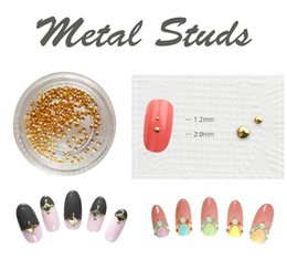 Wholesale Studs For Nail Art - High quality Gold Round Metal Studs For Nail Art Decorative   Nail accessories(Korean accessories) 200 pcs   pack