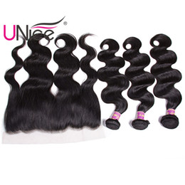 UNice Hair Indian 13x4 Ear to Ear Frontal With Body Wave Bundles 100% Human Hair Closure With Weave Bundles Nice Bulk Wholesale Unprocessed