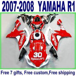 Freeship motobike set for YAMAHA fairings YZF R1 07 08 red white black new fairing kit YZF-R1 2007 2008 YQ61