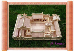 Wholesale-3D Woodcraft Puzzle kit Chinese Architecture House Beijing Courtyrard Model