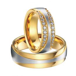 Promotion bague de fiançailles en titane or Plaqués gros-luxe en or 18 carats bandes engagement de bijoux de mariage de titane promettent l'éternité anneaux ensembles pour hommes et femmes alliances Anel