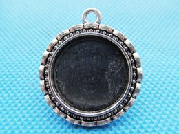 50pcs Antique Silver tone Flower Border Round Base Setting Tray Bezel Pendant Charm Finding,fit 20mm Cabochon Cameo