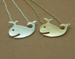 10PCS- N037 Gold Silver Cute Whale Necklaces Charm for beach party Animal ocean sea fish Necklace Jewelry