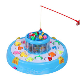 Kids toys Double Fish Pool Electric Rotating Magnetic Fishing Game with the Music & Light Christmas Toy Gift