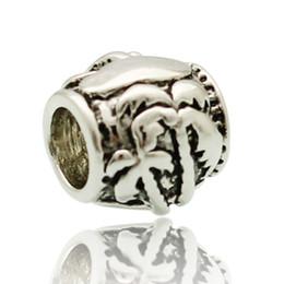 Fashion women jewelry metal loose charms sea beach palm tree round European spacer bead charm fits Pandora bracelet
