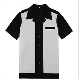Mens Rockabilly Bowling Shirts Black and White 50s 60s Style New Design Cotton Top