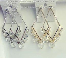 gold*silver square diamond drops lady;s earings ( (jennifer)