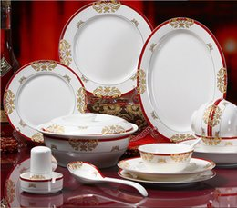 Wholesale Jingdezhen porcelain bone china tableware suit red flower factory in Phnom Penh hotel dinnerware dish dishes tableware gifts