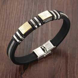 For Men Women Gifts Vintage silicone Stainless Steel Gold Great Wall Logo Bracelet 7.87''