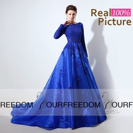 LX045 Royal Blue Organza Long Evening Dresses 2016 Real Image Bateau Neck Long Sleeve Top With Lace Beaded Full Length Formal Prom Gown