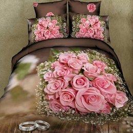Wholesale D Animated Rose Queen Designer Bedding Set Different Colors Egyptian Cotton Duvet Cover Sets Brand Home Textile ROMORUS