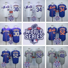Wholesale New York Mets Michael Conforto Noah Syndergaard Jersey Jacob deGrom Yoenis Cespedes Jersey w World Series Patch