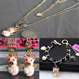 Wholesale Betsey Johnson Flying Pig Heart Black Cord Golden Bracelet necklace earrings