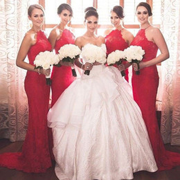 New Red Lace Bridesmaid Dress Custom Made Mermaid Sheer Halter Neck Sleeveless Sweep Train Wedding Party Maid of Honor Gowns