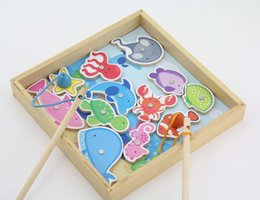 Wholesale pc wooden fishing toys with rods colorful fish and box container smooth baby wooden toy gift box packing