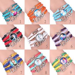 Wholesale 2015 Frozen infinity charms Bracelets bangle Antique Bronze Sideways Queen Elsa princess Anna Olaf Love Wristbands gift for women kids