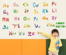 Wholesale New Removable Early Learning Alphabets Letters Kids Room Decals Stickers Kindergarten Decoration Adesivo De Parede PVC Decal