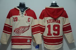 Wholesale yzerman Jersey Detroit Red Wings Jersey Hoodies Hockey Jersey Sport Jerseys Embroidery Logos Beige Top Quality