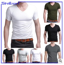 Wholesale 2015 new men s short sleeve V neck Lycra men s t shirt blank t shirt bottoming shirt solid color men s proxy