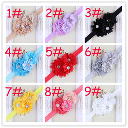 Baby Rhinestone Headbands Combined With Triple Flower Hair Accessories Girls Shabby Chiffon Flower Hairbands Infant Christmas Headwear