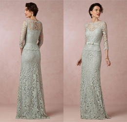 Wholesale Most Beautiful Mother of the Bride Lace Dresses from Eiffelbride with Sexy Illusion Long Sleeve Elegant A Line Sage Wedding Gowns