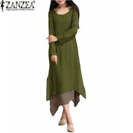 Wholesale-Hot Sale 2015 Autumn Women Cotton Linen Vintage Dress Ladies O Neck Full Sleeve Casual Loose Boho Long Maxi Dresses Vestidos