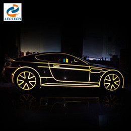 Wholesale 2cm m Reflective Tape Car Sticker Film Auto Motorcycle Bike Decoration Decal Whole Body Color Shiny Tint Strip Sheet Styling