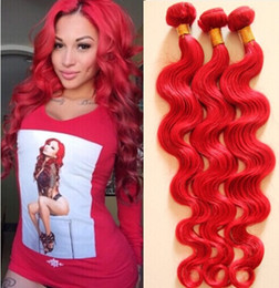 7A Unprocessed brazilian virgin hair 3pcs lot body wave full bundle Red color,100% human hair extensions DHL free hot sell