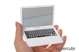 Wholesale Novelty White silver Mini Apple Macbook Air Notebook Tablet Beauty Makeup Cosmetic Pocket Face Compact Mirror