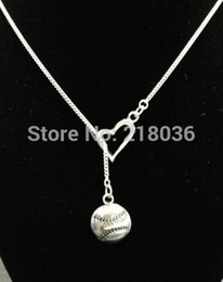 10PCS Vintage Silvers Baseball Softball Heart Charms Choker Sweater Chain Couple Necklaces Pendants Jewelry DIY For Woman L480