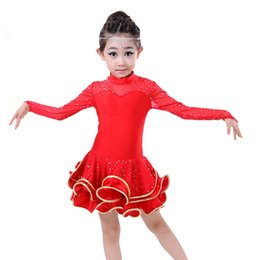 Latin Dance Dress for Girls Long Sleeve Lace Sequin Vestido Kids Latin Dresses Girls Stage Performance Costumes Dancing Dress UA0162