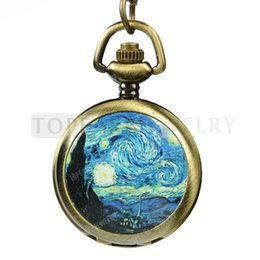 Wholesale Necklace Pocket Watch Starry Night Van Gogh LPW78
