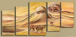 Wholesale hand painted modern Wall home decor Canvas oil painting new Beautiful Arab Desert abstract oil paintings Set a294