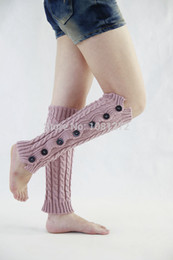 Wholesale-(6Pairs lot) 100% cotton Button Loose Socks Cotton Boot Socks Thigh High Leg Warmers 121112E