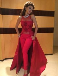 Árabe Fares Dresses Pants 2017 New Illusion Kaftan Dubai Mujeres musulmanas Vestidos de baile Satén Rojo Sexy A Line Vestidos de noche 048