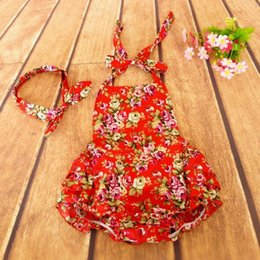 newborn clothes red floral romper girl baby cotton halter back toddler outfit floral romper matching headband girls outfit