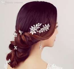 Wholesale New Set Red Silver Rhinestone Bridal Hairpins and Earring Wedding Crystal Jewelry Hair Ornamentation Set For Bride