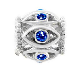 Rhodium Plating Blue Crystal Rhinestone Evil Eye European Style Charm Filigree Bead For Pandora DIY Bracelet