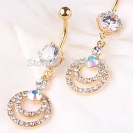Free Shipping Hot Rhinestone GOld Navel Dangle Button Belly Ring Bar Body Piercing Jewelry