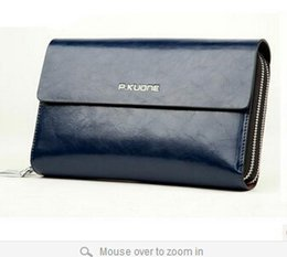 HOT New 2017 Luxury Shining Oil Wax Cowhide Men Clutch Bag Long Genuine Leather men wallets Double Layer Business Clutch