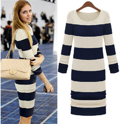 Wholesale Europe Street long sleeved slim women sweater dress fashion new winter Stripe knit sexy Hip package women sweater N77