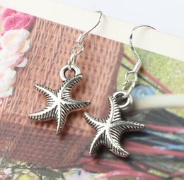 Wholesale MIC x34mm Antique Silver Sea Star Starfish Corrugation Animal Charm Pendant Earrings Silver Fish Ear Hook Chandelier Jewelry E014