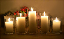 Wholesale Transparent glass candle holders straight glass bottles Wedding candles road guide pillar candle glass candlestick include candle