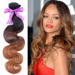7A Wet And Wavy 4pcs Brazilian Virgin Hair Ombre Body Wave 3 Tone Color 1B 4 30 100 Human Hair Extension Cheap Unprocessed Remy Hair Bundles