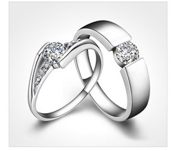 Wholesale Hot sale couples rings Sterling Silver Rings CT HALO DIAMOND ENGAGEMENT RING WEDDING BAND SET G H EGL USA K