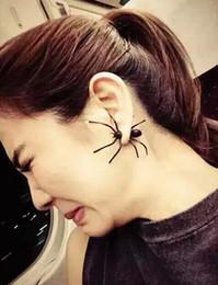 New Fashion European Style Black Spider Stud Earrings For Women