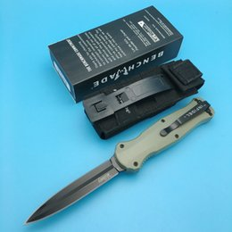 Wholesale New BM Benchmade Infidel ArmyGreen handle D2 Spear point Black Double blade Smooth action Camping knife outdoor knife knives